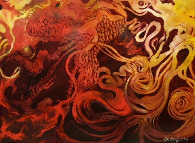 (CreativeWork) Dragon's Den by Cathy Gilday. arcylic-painting. Shop online at Bluethumb.