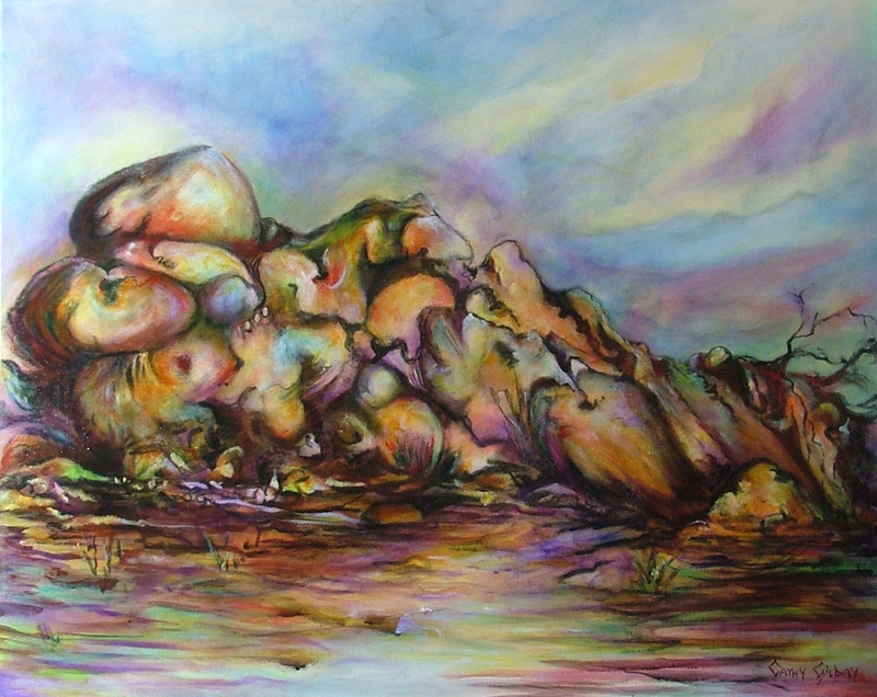 (CreativeWork) Resting Giant by Cathy Gilday. arcylic-painting. Shop online at Bluethumb.