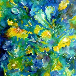 (CreativeWork) Floral Impressions in Blue by Cathy Gilday. arcylic-painting. Shop online at Bluethumb.