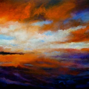 (CreativeWork) Winter sky at sunset by Cathy Gilday. arcylic-painting. Shop online at Bluethumb.