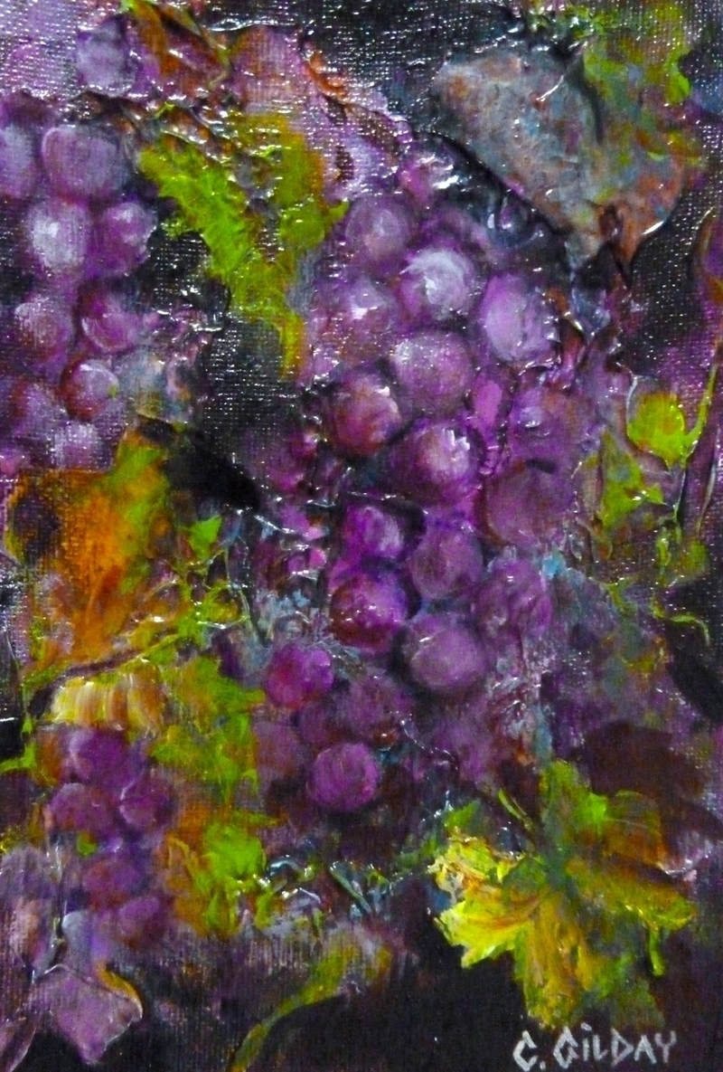 (CreativeWork) On The Vine by Cathy Gilday. arcylic-painting. Shop online at Bluethumb.