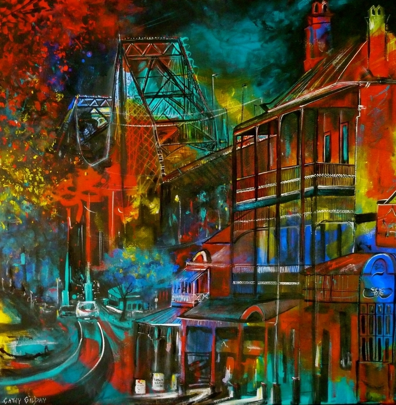 (CreativeWork) Story Bridge & Hotel' Brisbane. by Cathy Gilday. arcylic-painting. Shop online at Bluethumb.