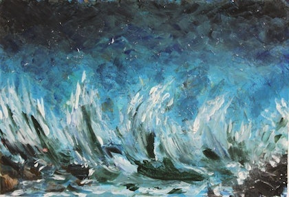 (CreativeWork) Angry Ocean by Farrulsaqlain Syed. arcylic-painting. Shop online at Bluethumb.
