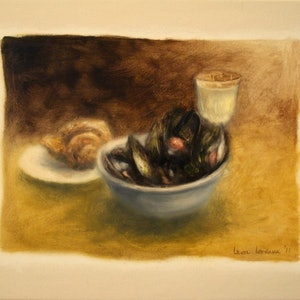 (CreativeWork) Still Life with Mussels and White Wine by Leon Loreaux. oil-painting. Shop online at Bluethumb.