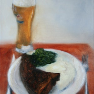 (CreativeWork) Still Life with Steak Dinner and Weihenstephan by Leon Loreaux. oil-painting. Shop online at Bluethumb.