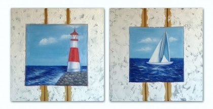 (CreativeWork) Sailing I by Sam Anderson. oil-painting. Shop online at Bluethumb.