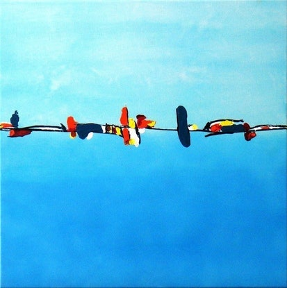 (CreativeWork) Birds on a Wire by Belinda Stone. Acrylic Paint. Shop online at Bluethumb.