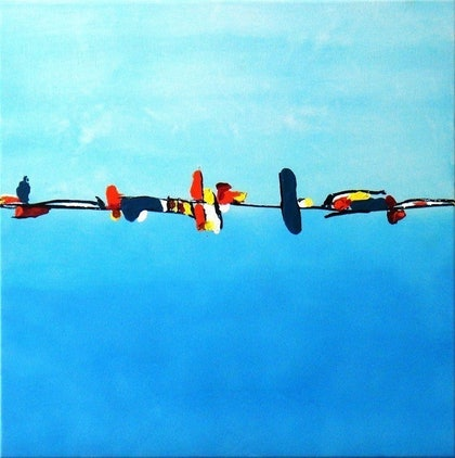(CreativeWork) Birds on a Wire by Belinda Stone. arcylic-painting. Shop online at Bluethumb.