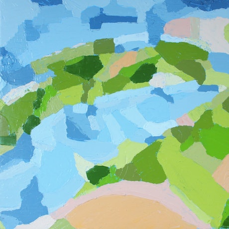 (CreativeWork) Land in Flux by Pip Montier. Acrylic Paint. Shop online at Bluethumb.