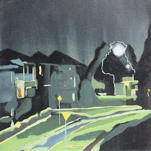 (CreativeWork) Nighttime' quiet street by Pip Montier. acrylic-painting. Shop online at Bluethumb.