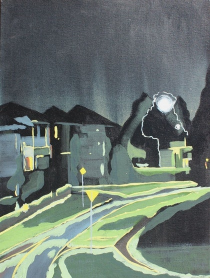(CreativeWork) Nighttime' quiet street by Pip Montier. arcylic-painting. Shop online at Bluethumb.