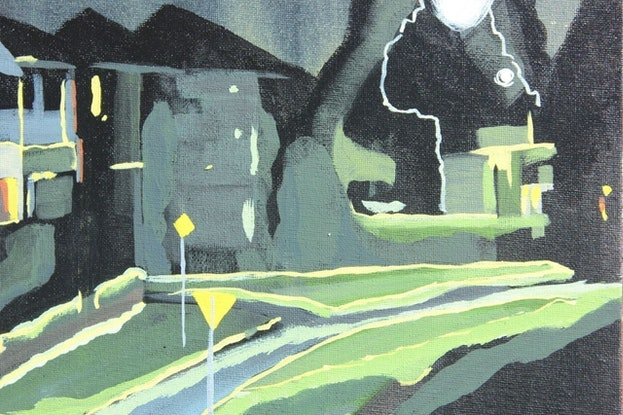 (CreativeWork) Nighttime' quiet street by Pip Montier. Acrylic Paint. Shop online at Bluethumb.