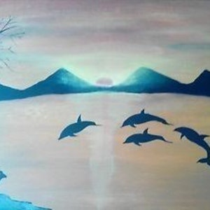 (CreativeWork) Dolphins' Kangaroos and The Sunset by Sagar Nagpal. arcylic-painting. Shop online at Bluethumb.