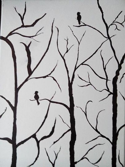 (CreativeWork) Birds on the branches by Sagar Nagpal. arcylic-painting. Shop online at Bluethumb.
