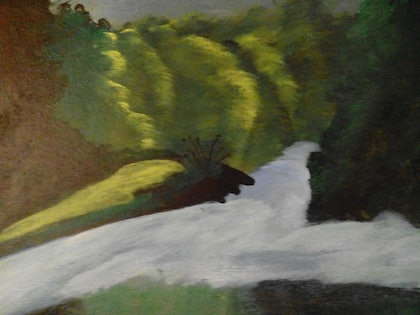 (CreativeWork) The forest waters by Sagar Nagpal. oil-painting. Shop online at Bluethumb.