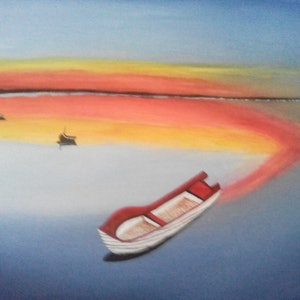 (CreativeWork) Boats under the sky by Sagar Nagpal. arcylic-painting. Shop online at Bluethumb.
