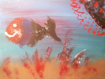 (CreativeWork) Under the Sea by Nat Nat. arcylic-painting. Shop online at Bluethumb.