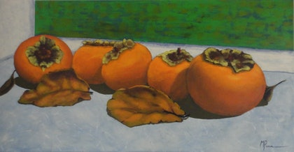 (CreativeWork) Persimmon5 by Meredith Pammenter. arcylic-painting. Shop online at Bluethumb.