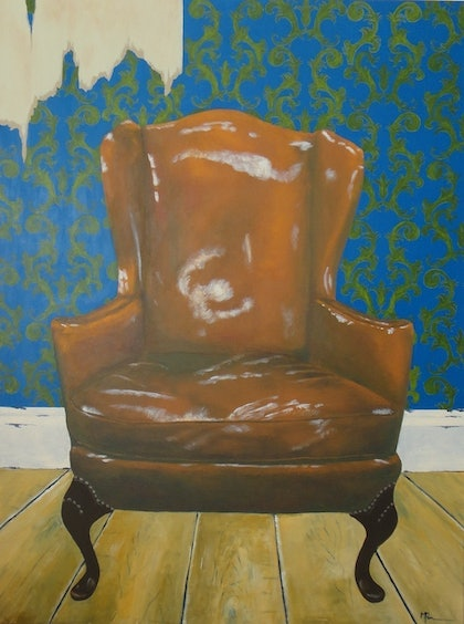 (CreativeWork) Old Leather Chair by Meredith Pammenter. arcylic-painting. Shop online at Bluethumb.