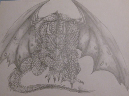(CreativeWork) Patient Dragon by nicki francia. drawing. Shop online at Bluethumb.