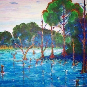 (CreativeWork) Gunbower by Sean Van Den Driesen. arcylic-painting. Shop online at Bluethumb.
