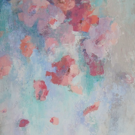 (CreativeWork) Floating Flowers by Chris Hobel. Acrylic Paint. Shop online at Bluethumb.