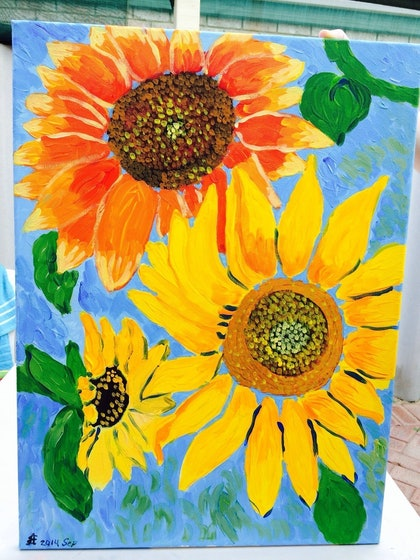 (CreativeWork) sunflowers by Ekaterina Litvinchuk. arcylic-painting. Shop online at Bluethumb.