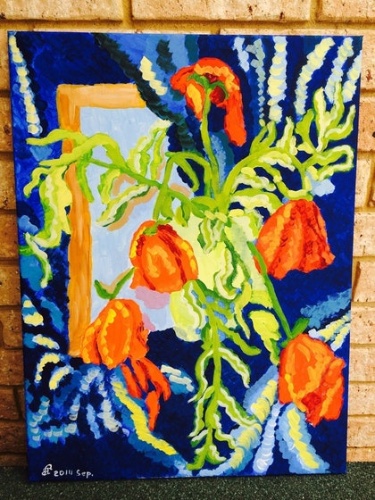 (CreativeWork) Mirror with poppies by Ekaterina Litvinchuk. arcylic-painting. Shop online at Bluethumb.