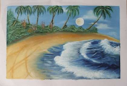 (CreativeWork) sea scape by seema rani. oil-painting. Shop online at Bluethumb.