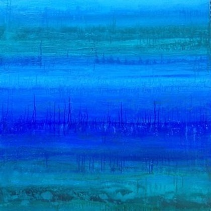 (CreativeWork) The Deep Blue by Sharon Hegarty. arcylic-painting. Shop online at Bluethumb.