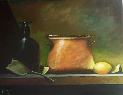 (CreativeWork) Pot of Dreams by Pam Sheehan. oil-painting. Shop online at Bluethumb.