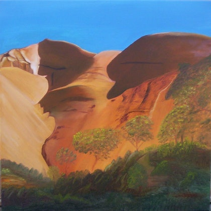 (CreativeWork) The Face of ULURU by Pam Sheehan. oil-painting. Shop online at Bluethumb.