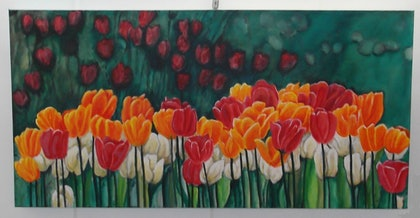 (CreativeWork) Tulips by June Hordern. arcylic-painting. Shop online at Bluethumb.