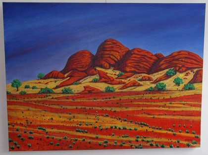 (CreativeWork) The Olgas by June Hordern. arcylic-painting. Shop online at Bluethumb.