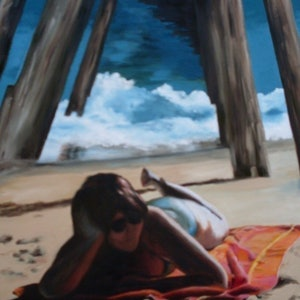 (CreativeWork) Under the Jetty by Beryl Stutchbury. oil-painting. Shop online at Bluethumb.