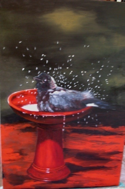 (CreativeWork) Splashing Around by Beryl Stutchbury. oil-painting. Shop online at Bluethumb.