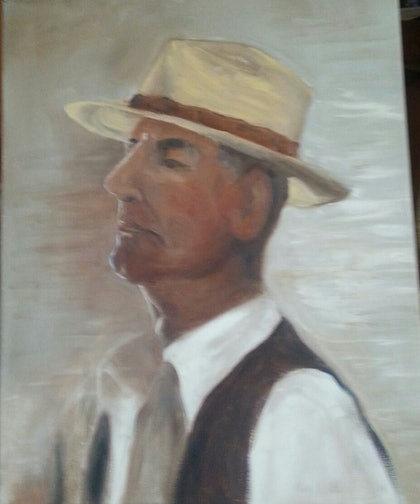 (CreativeWork) Man with Hat by Beryl Stutchbury. oil-painting. Shop online at Bluethumb.