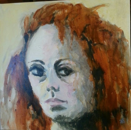 (CreativeWork) Claire by Beryl Stutchbury. oil-painting. Shop online at Bluethumb.