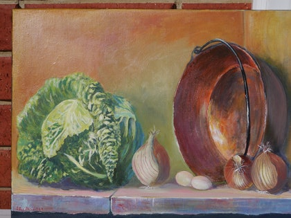 (CreativeWork) On the Kitchen Shelf by John Langford. arcylic-painting. Shop online at Bluethumb.