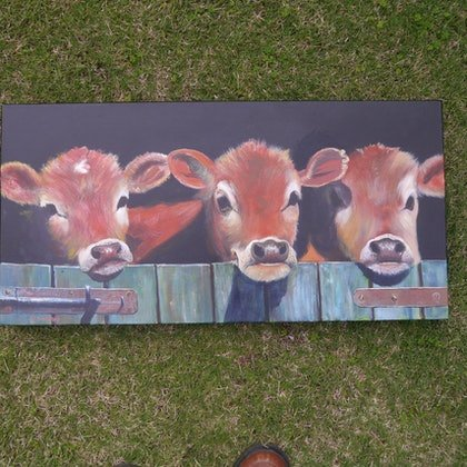 (CreativeWork) Three in a Row by John Langford. arcylic-painting. Shop online at Bluethumb.