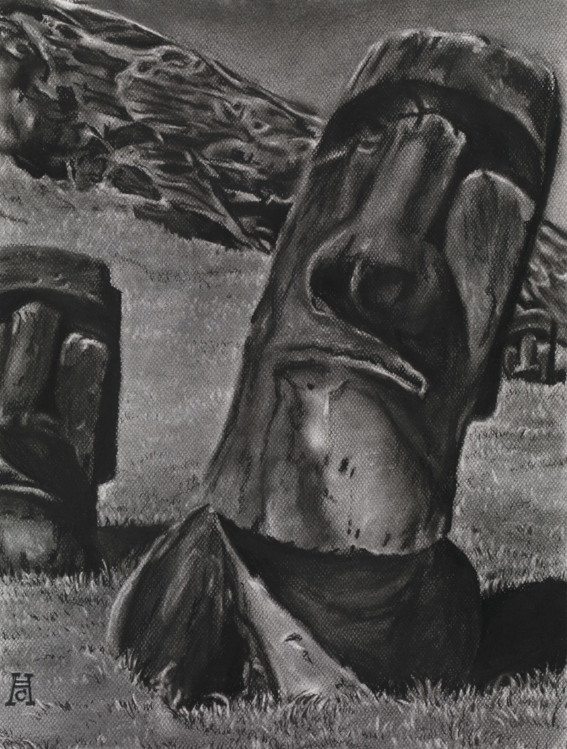 (CreativeWork) Easter Island Heads by Heath Carter. drawing. Shop online at Bluethumb.