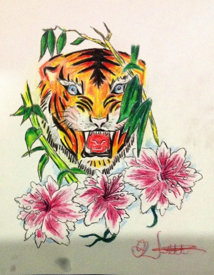 (CreativeWork) The tiger by Daniel Werthenbach. drawing. Shop online at Bluethumb.