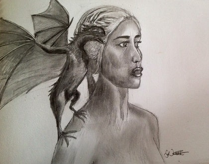 (CreativeWork) Mother of dragons by Daniel Werthenbach. drawing. Shop online at Bluethumb.