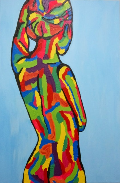 (CreativeWork) Chameleon Soul by Shannon Lynam. arcylic-painting. Shop online at Bluethumb.