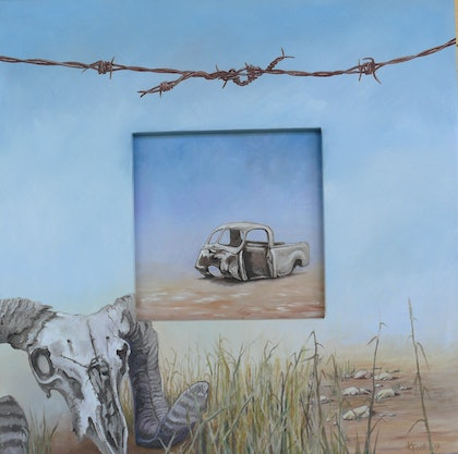 (CreativeWork) Framing Farming: The Remains (no. 5 of 10) by Karen Tooth. oil-painting. Shop online at Bluethumb.