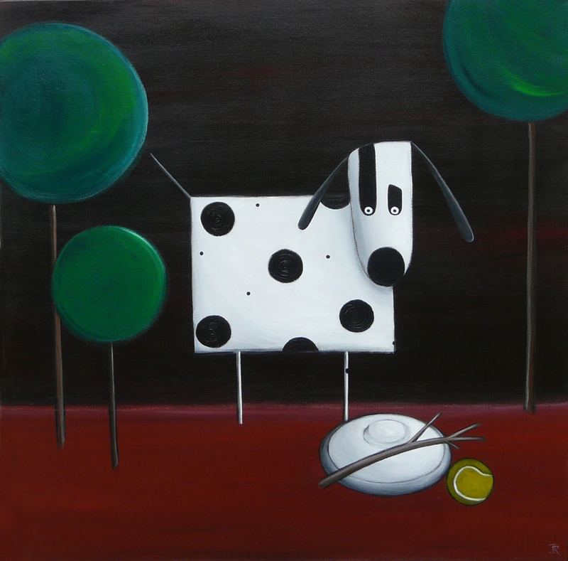 (CreativeWork) Dog Game On by Julie Robertson. arcylic-painting. Shop online at Bluethumb.