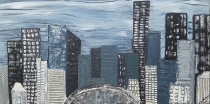 (CreativeWork) Cityscape by Tia Henderson. arcylic-painting. Shop online at Bluethumb.