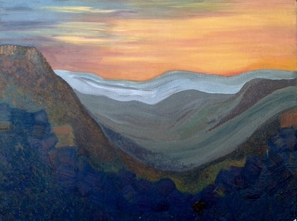 (CreativeWork) The Three Sisters on a winter sunset part two by Tia Henderson. arcylic-painting. Shop online at Bluethumb.