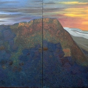 (CreativeWork) The Three Sisters on a winter sunset by Tia Henderson. arcylic-painting. Shop online at Bluethumb.