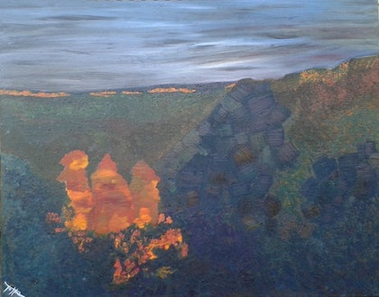 (CreativeWork) The Three Sisters on a winter sunset Part one by Tia Henderson. arcylic-painting. Shop online at Bluethumb.